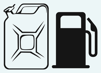 Gas station and jerrycan