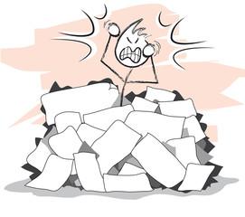 personnage en colère sous une montagne de papier