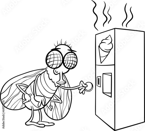 fly and vending machine coloring page