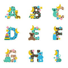alphabet baby from A to I - vector illustration