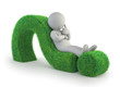 3d small people - lying on a green question mark