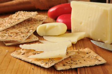 Asiago and gouda cheeses