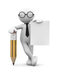 omino bianco appoggiato alla matita con foglio