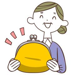 財布を持って笑う年配の女性