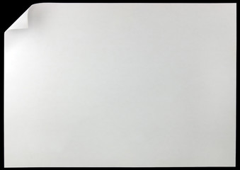 White Page Curl, Isolated On Black, Horizontal Copy Space