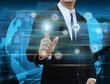 businessman touching power button