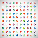 Sphere Icons Set - Isolated On Gray Background