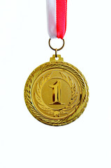 Gold medal, white background, vertical