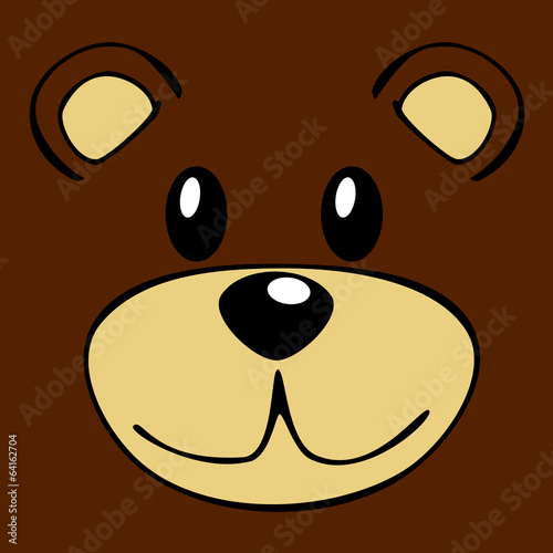 Vector drawing of a teddy bear face