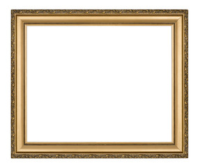 Golden frame for painting or picture on white with clipping path
