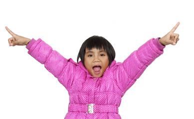 A little girl raised her hands up on a white background