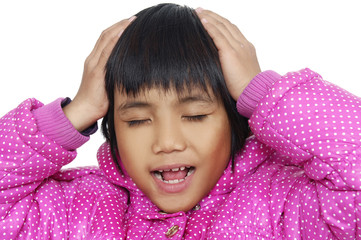 little girl with headache and problems
