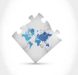 world map puzzle illustration design