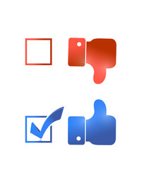 thumbs up check mark tick illustration design