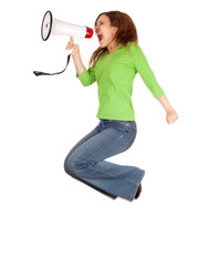 young woman using megaphone and jumping
