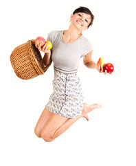 jumping woman with fruits