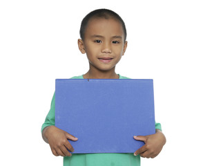 little boy with blue card for text isolated