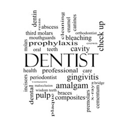 Dentist Word Cloud Concept in black and white