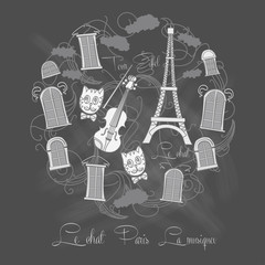 Background with Tour Eiffel on chalkrboard
