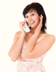 happy young woman speaking on the phone