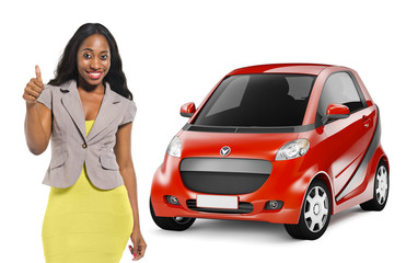 African American Woman by 3D Red Car