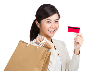 Asian woman with shopping concept with credit card