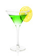 Green alcohol cocktail with sugar and lemon isolated on white