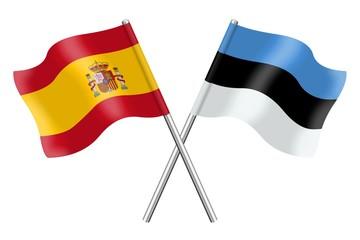 Flags: Spain and Estonia