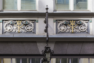 Detail of decorative building facade, Tallinn