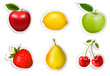 Set of flat fruit stickers. Vector.