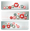 Three medical banners with icons. Vector.