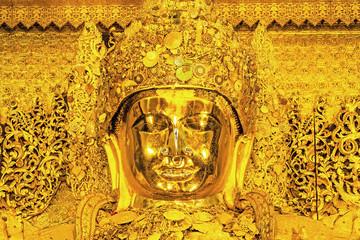 Big Golden Mahamuni Buddha statue in Mandalay.