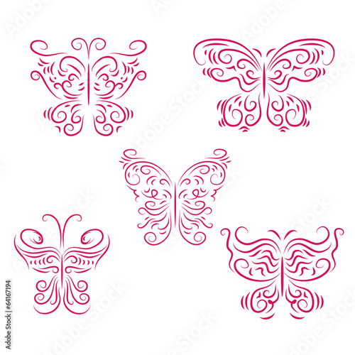 Set of beautiful pink butterflies