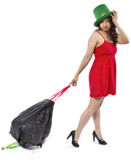 young female cleaning an after party with a trash bag