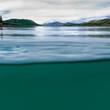 Lake Laberge Yukon Canada over-under split shot