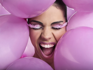 Make-up con palloncini rosa
