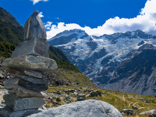 Hooker Valley rock cairn Aoraki Mt Cook trail NZ