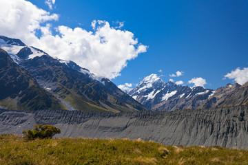 Glacial moraine Aoraki Mt Cook Hooker valley NZ