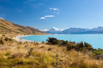Silty glacier Lake Pukaki Aoraki Mt Cook NP NZ