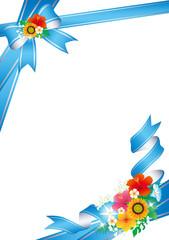 夏の花 リボン 枠