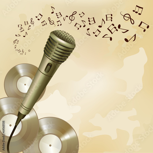 Retro microphone on music background