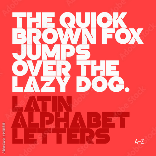 The quick brown fox jumps... Latin alphabet letters.