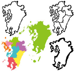 九州 地図 手書き 筆絵