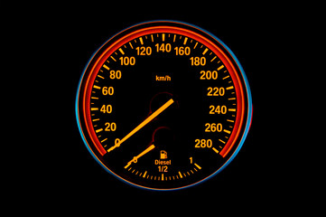 Speedometer of a sport diesel car