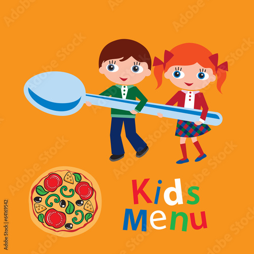 Kids menu. Cover for children's menu. Vector illustration.
