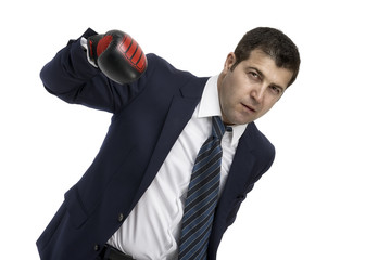Aggressive Businessman with boxing gloves, isolated on white