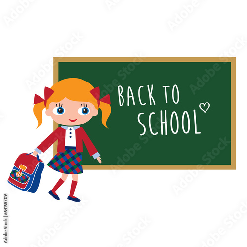 Schoolgirl with schoolbags. Back to school. Vector illustration.