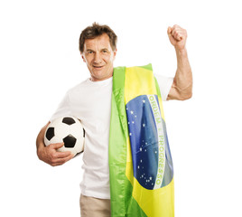 Senior male soccer fan