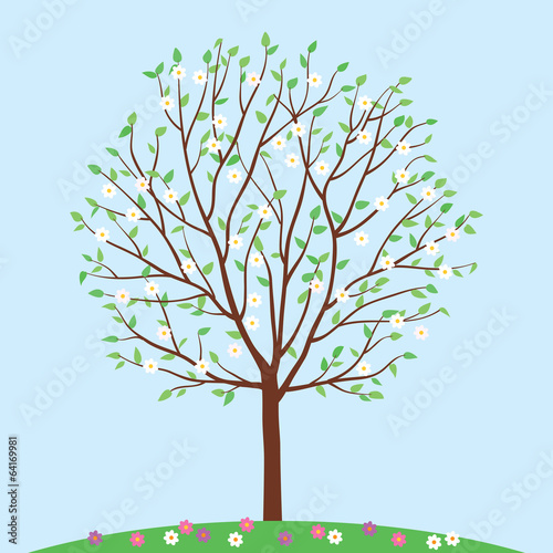 Spring tree with flowers. Vector illustration.