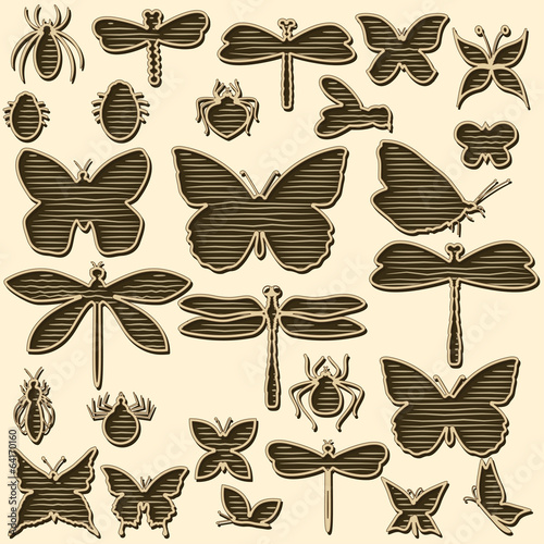 Set of stylized insects for decorating your work